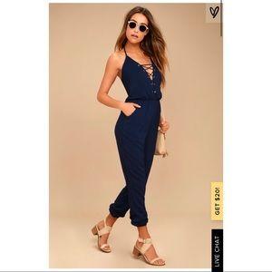 Lulus Unpredictable Navy Blue Lace-Up Jumpsuit